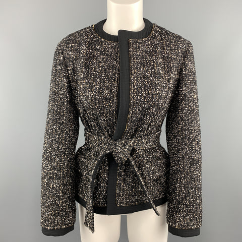 YVES SAINT LAURENT Size M Black Tweed Ziper Trim Collarless Jacket
