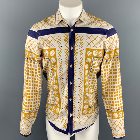 BURBERRY PRORSUM Spring 2013 Size M Yellow Geometric Cotton Button Up Long Sleeve Shirt