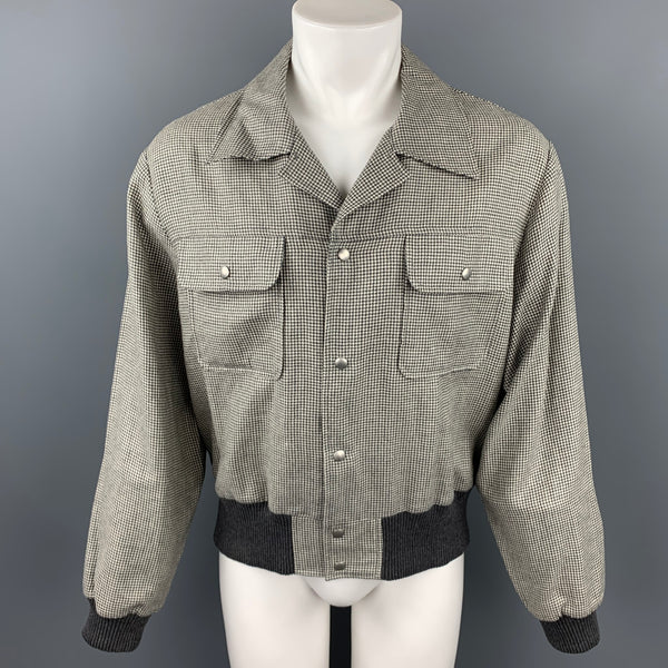 ADAM KIMMEL Size L Light Gray Houndstooth Wool / Linen Jacket