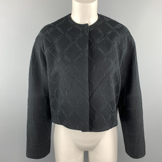 BALENCIAGA Size 4 Black Jacquard Cropped Collarless Jacket
