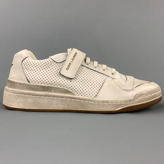 SAINT LAURENT Size 9 White Perforated Leather Low Top Sneakers