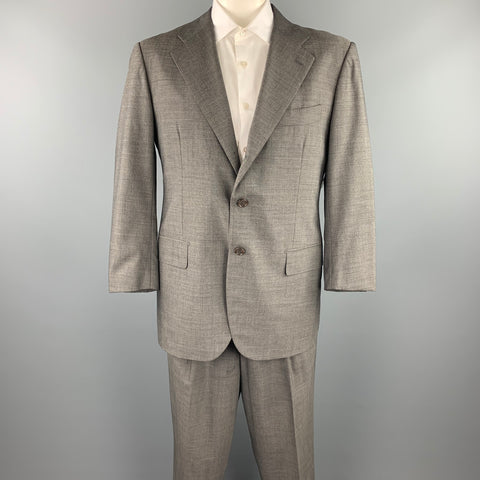 LUCIANO BARBERA Size 44 Regular Gray Heather Wool Notch Lapel Suit