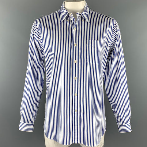 RALPH LAUREN Size L White & Blue Stripe Cotton Button Down Long Sleeve Shirt