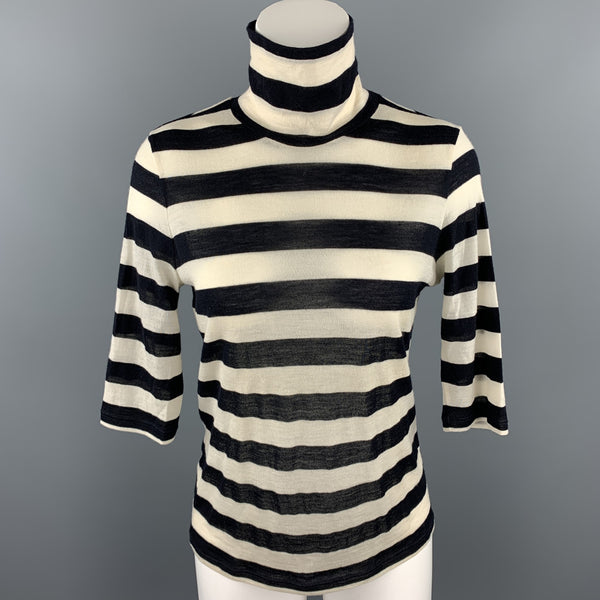MAX MARA Size L Black & White Knitted Stripe Turtleneck Pullover