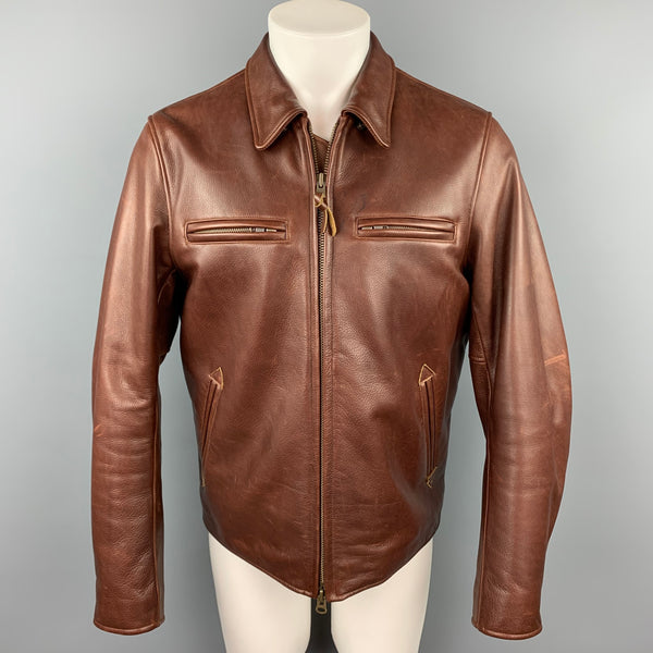 GOLDEN BEAR for TAYLOR STITCH Size L Brown Leather Zip Up Jacket