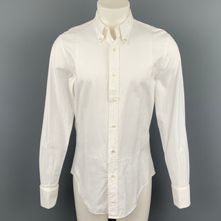 R.E.D. by VALENTINO Size M White Textured Cotton French Cuff Long Sleeve Shirt