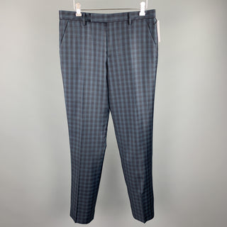 PAUL SMITH Size 32 Navy Plaid Lana Wool Zip Fly Dress Pants