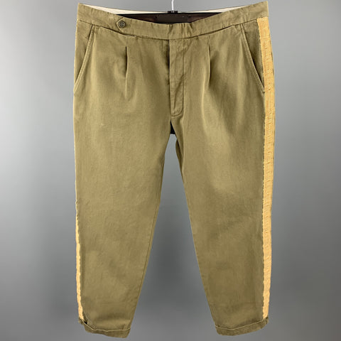 PALM ANGELS Size 36 Olive Washed Cotton Button Fly Casual Pants