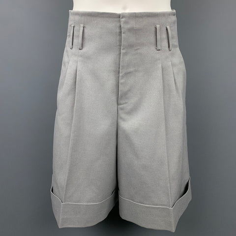 JIL SANDER Size 30 Grey Solid Polyester / Cotton Pleated Shorts