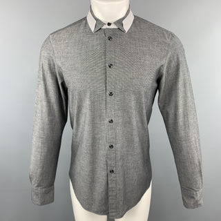 EMPORIO ARMANI Size M Grid Dark Gray Cotton Button Up Long Sleeve Shirt