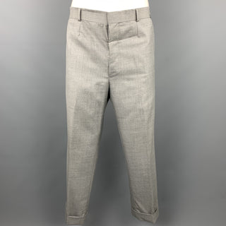 BLACK FLEECE Size 36 Light Gray Wool Pleated Dress Pants