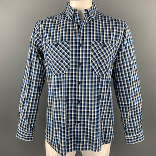 FREEMANS SPORTING CLUB Size XL Blue Checkered Cotton Long Sleeve Shirt