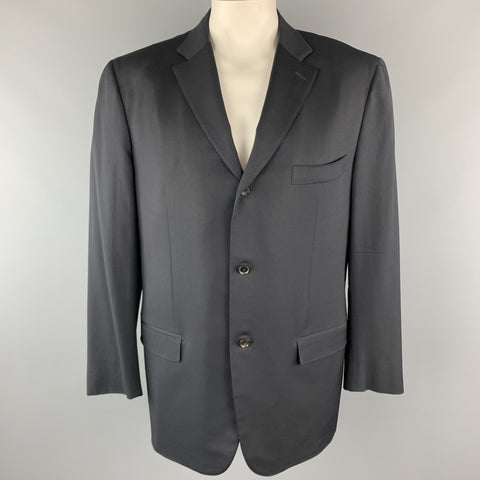 ISAIA 48 Long Black Wool Notch lapel Single Breasted Sport Coat