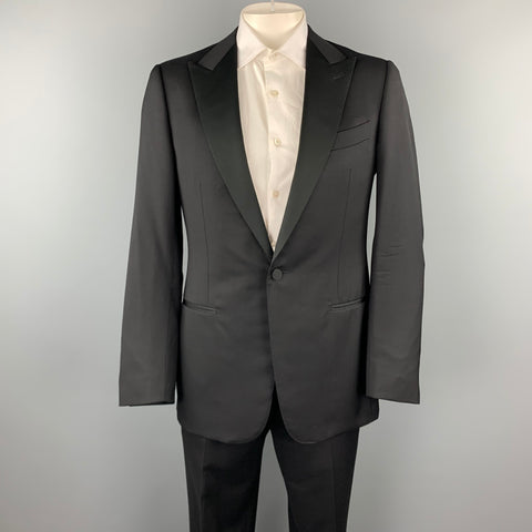 ERMENEGILDO ZEGNA Size 42 Long Black Wool Peak Lapel Tuxedo