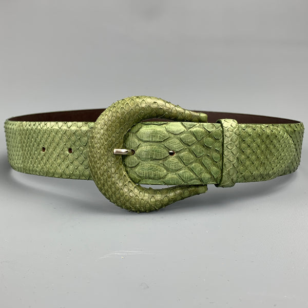 ORCIANI Green Snake Skin Leather Belt