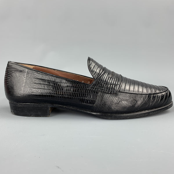 R. MARTEGANI Size 8 Black Textured Leather Penny Loafers