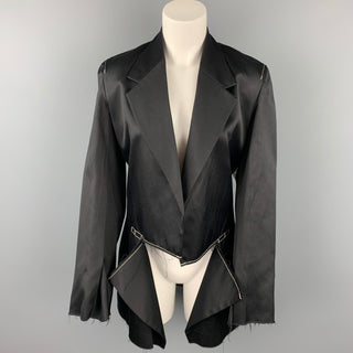 CALVIN KLEIN COLLECTION Size M Black Contrast Stitch Cotton Notch Lapel Open Front Jacket