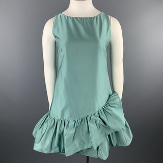MOSCHINO Size 10 Aqua Teal Silk Blend Satin Ruffle Dress