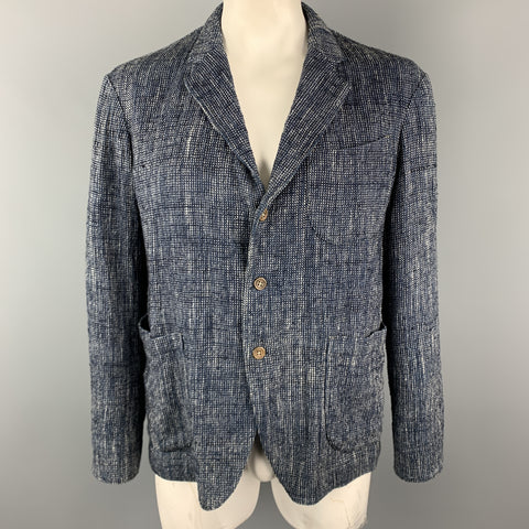 45rpm Size L Navy Woven Cotton / Linen Notch Lapel Sport Coat