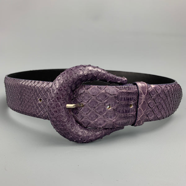 ORCIANI Purple Snake Skin Leather Belt