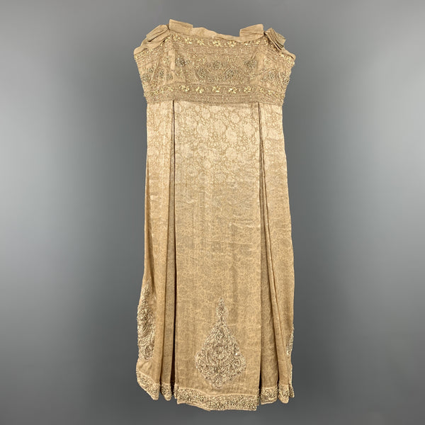 MARCHESA Size 6 Beige Metallic Floral Silk Beaded Strapless Cocktail Dress