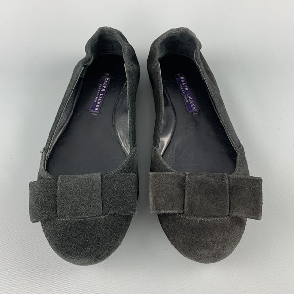 RALPH LAUREN COLLECTION Size 7 Black Suede Bow Flats