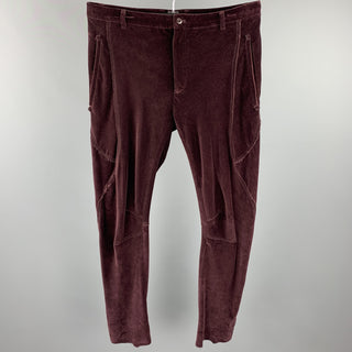 LANVIN Size 32 Burgundy Solid Cotton Velvet Zip Up Casual Pants