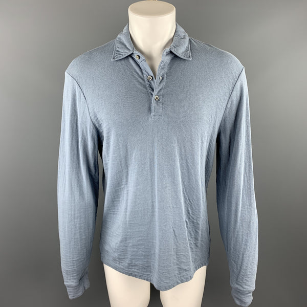 ALEX MILL Size M Powder Blue Cotton Buttoned Long Sleeve Polo