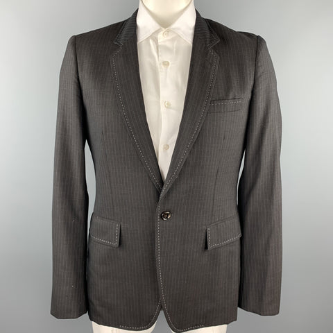 COMME des GARCONS HOMME PLUS Size L Charcoal Vertical Stripe Wool / Polyester Sport Coat