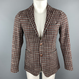 TAGLIATORE Size 34 Brown Plaid Wool / Silk Notch Lapel Metal Button Sport Coat