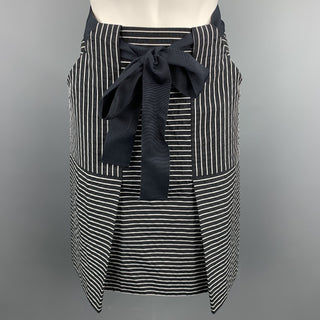 CAROLINA HERRERA Size 2 Black & White Stripe Cotton / Polyester Belted A-Line Skirt