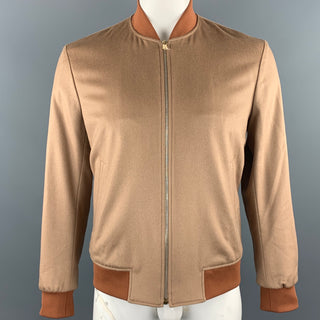 PAUL SMITH Size M Camel Cashmere Zip Up Bomber Jacket