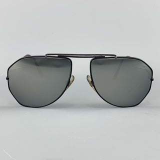 MENIA Vintage Black Matter Metal Mirrored Geometric Aviators
