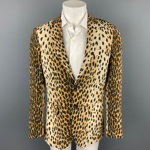 R13 Size L Tan Animal Print Viscose Notch Lapel Sport Coat