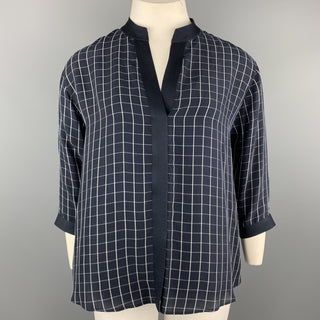 GIORGIO ARMANI Size 12 Navy Windowpane Cropped Sleeve Blouse
