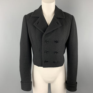 RALPH LAUREN Size 6 Black Wool Blend Woven Cropped Double Breasted Jacket