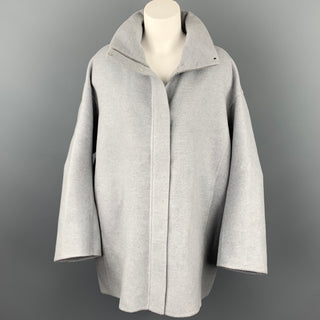 LORO PIANA Size M Light Gray Cashmere Leather Trim Oversized Hooded Jacket