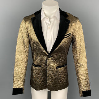 MR TURK Size 36 Gold & Black Brocade Polyester Notch Lapel Sport Coat