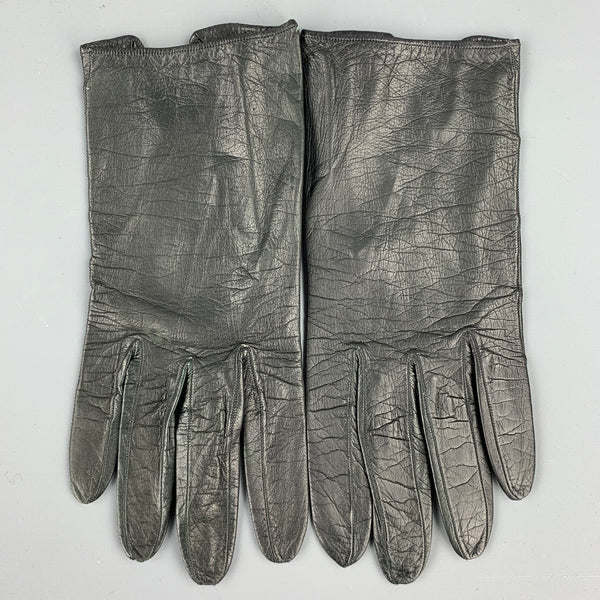 Vintage CHRISTIAN DIOR Black 6.5 Leather Gloves