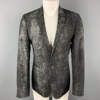 CALVIN KLEIN COLLECTION Size 36 Black & Grey Distressed Print Sport Coat