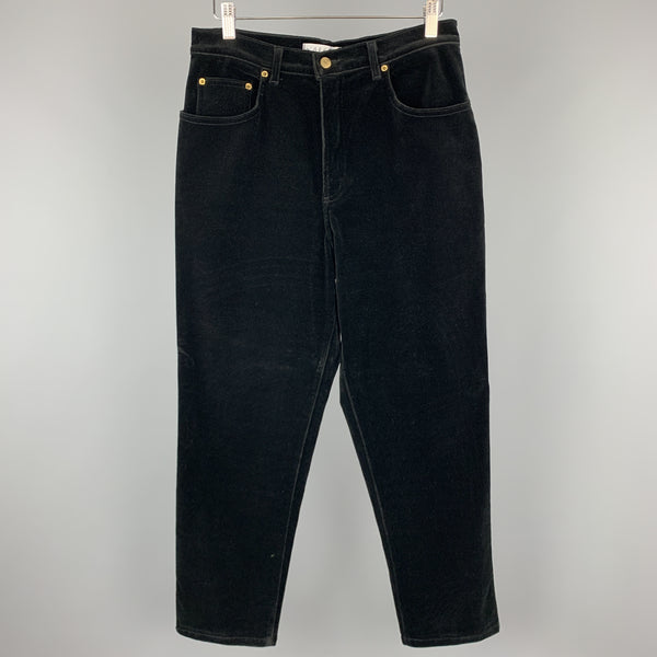 JAEGER Size 12 Black Stretch Velvet Jeans