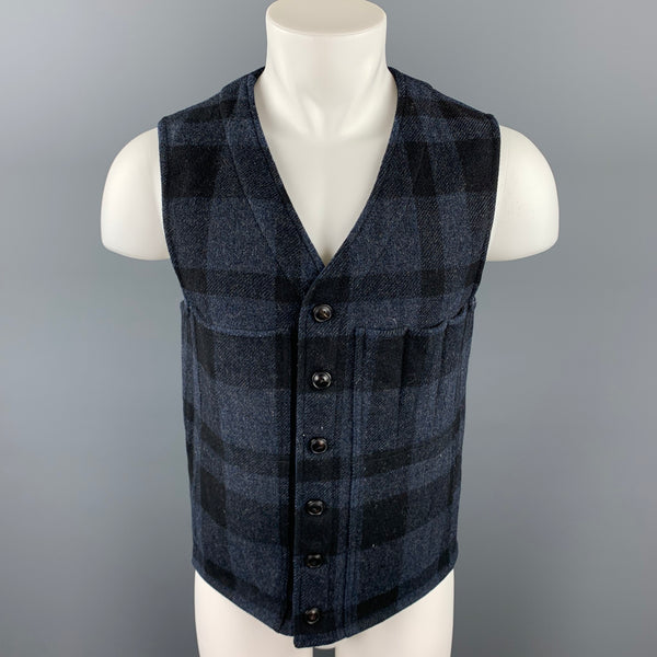 RRL by RALPH LAUREN Size M Navy Plaid Wool Buttoned Vest