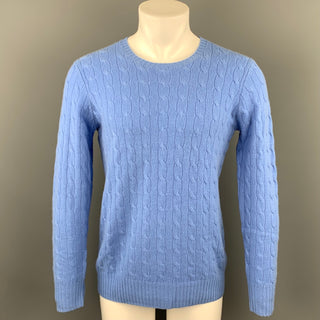 RALPH LAUREN Size S Blue Cable Knit Cashmere Crew-Neck Sweater