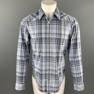 HUGO BOSS Size M Grey Plaid Cotton Button Up Long Sleeve Shirt