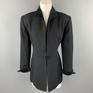 CHRISTIAN DIOR Size 10 Black Crepe Velvet Trim Jacket