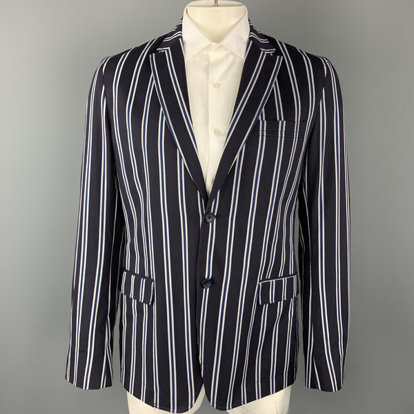 D&G by DOLCE & GABBANA Size 42 Navy Stripe Cotton Notch Lapel Sport Coat