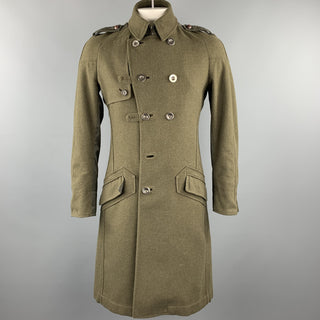 MOSCHINO JEANS Size M Olive Wool Double Breasted Epaulette Coat