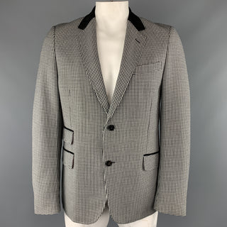 GUCCI Size 44 Black & White Checkered Plaid Wool Blend Suede Collar Notch Lapel Sport Coat