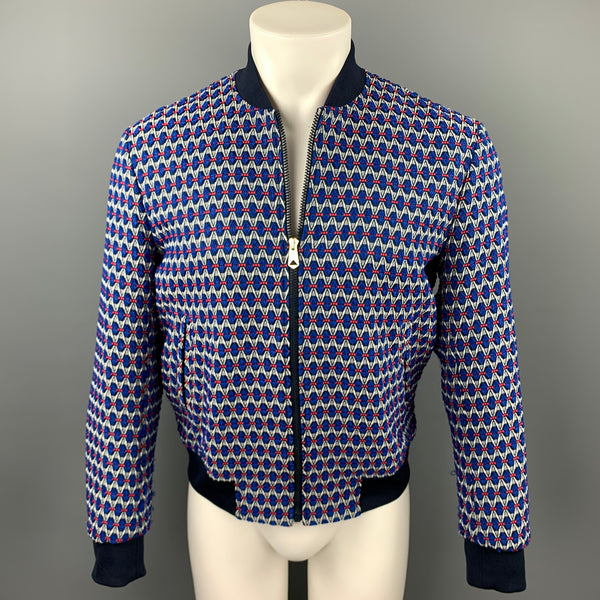 PAUL SMITH Size M Blue & Grey Geometric Polyester Blend Zip Up Jacket
