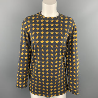VERSUS by GIANNI VERSACE Size L Charcoal & Gold Cotton Blend Pullover